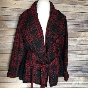 Lane Bryant Jacket Size 26/28 Belted Tweed Plaid